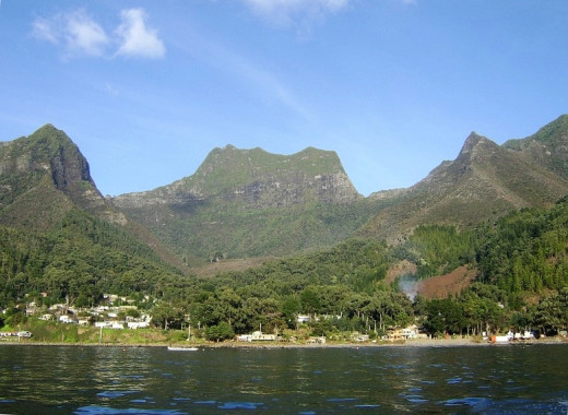 Cumberland Bay on Robinson Crusoe Island (Juan Fernandez Islands)