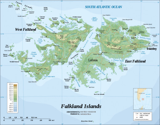 The Falkland Islands, showing Port Stanley on the right.