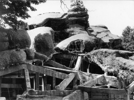 The park in ruins after World War II