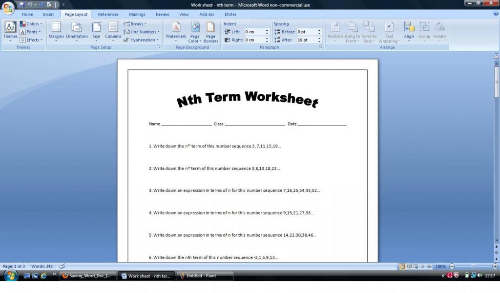Nth term homework help