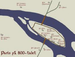 Paris in the early middle ages. The city was raided several times (the map was created by the Danes)