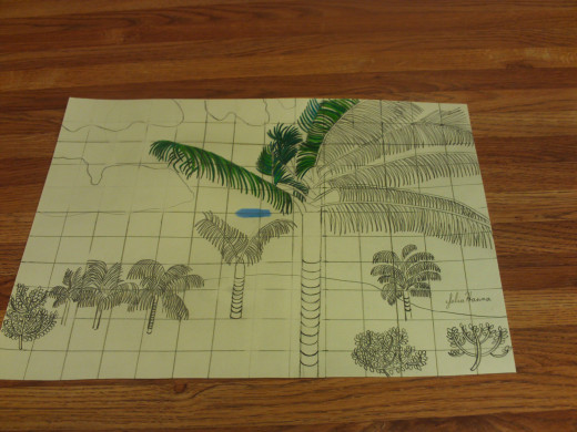 I begin to color in the palm fronds of the focal point tree.