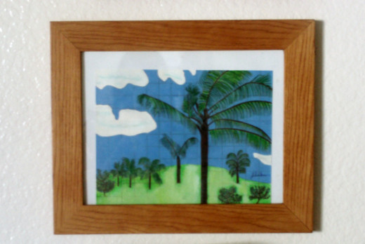 The Hawaiian palm tree scene is now framed.