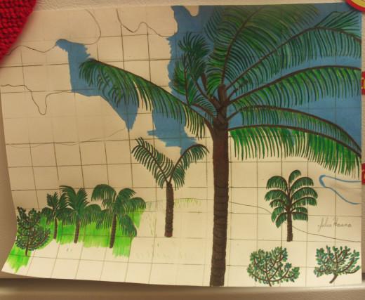 How To Draw A Hawaiian Palm Tree Scene On Graph Paper  Hawaiian Palm Tree Drawings