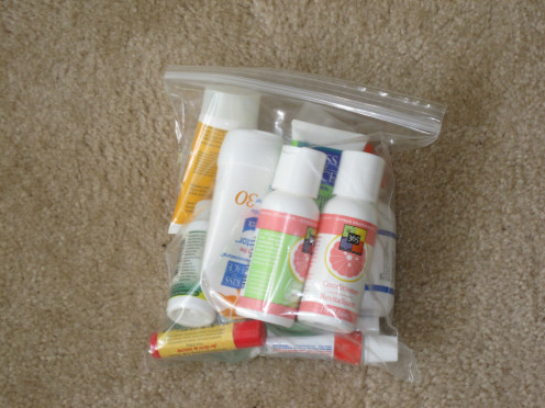 Travel sized items in plastic bags