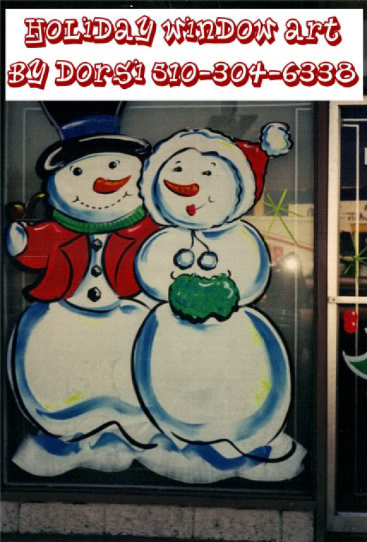One of my favorites that I paint - these fun snow people I did this on a customers store-front window for Christmas one year.