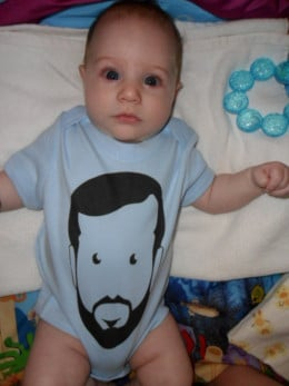 This is my baby son, Gatsby wearing his own hipster onesie. My artist friend is the subject matter.