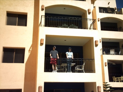 My wife and son on balcony of our unit.