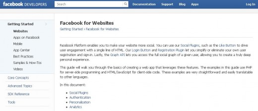 "Click the ""Build for Websites"" button on the middle-left side of the page to open the Facebook for Websites page."