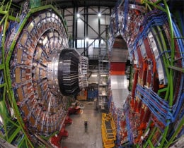 This is but a small part of the Large Hadron Collider that recently detected the Higgs boson. This is the largest machine ever built and it was used to tease out one of the smallest particles at huge levels of energy.