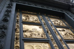 "The door known as Ghiberti's ""Paradise"" that is on the Baptistry building"
