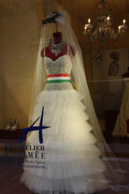 One of the many wedding dresses on display in Atelier Aimee store