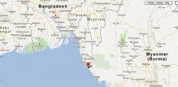 The Naaf River which effectively borders Bangladesh and Myanmar  has recently been inundated with flood waters.