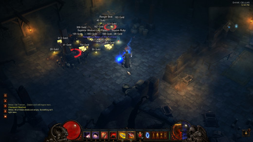 Gold drops from Dank Cellar in Act 1 Inferno