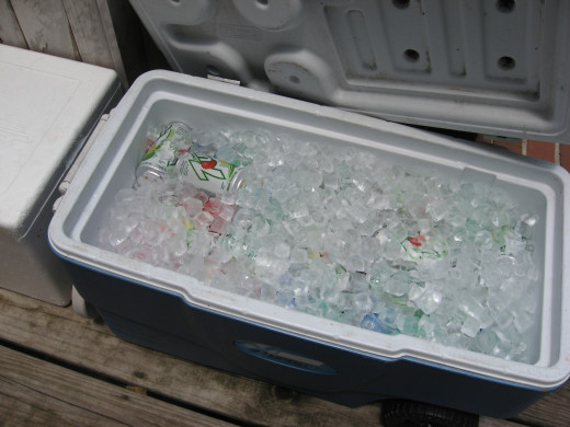 Fill one cooler with a variety of soft drinks.
