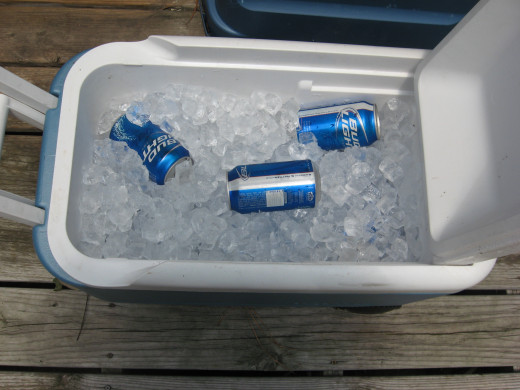 The guys had their own cooler...of beer.