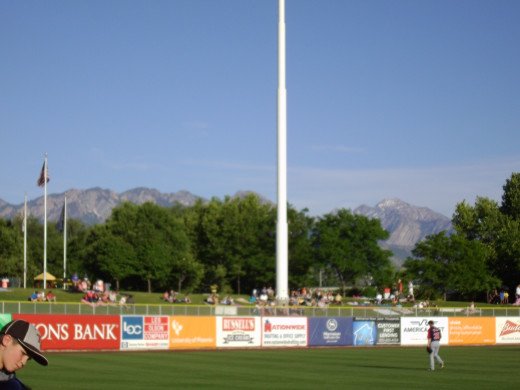 Salt Lake Bees Baseball--Note Mountains in Background