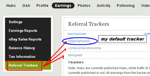 Screen shot of my Referral Tracker page