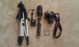My Canon set with tripod, charger, two lenses, camera and lens filter