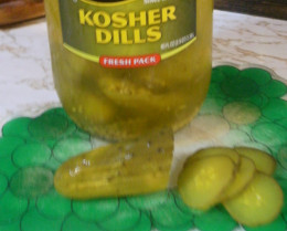 "Chop large dill pickles to make the best ""fast food"" pickle slices."