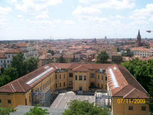 The view from the top of the garden walls in the back