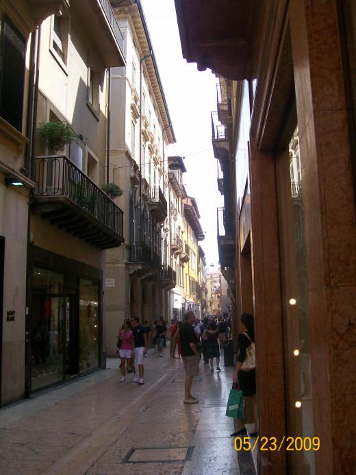 The walking only street in Verona