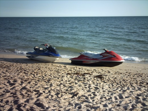 A couple of jet skis for rent.