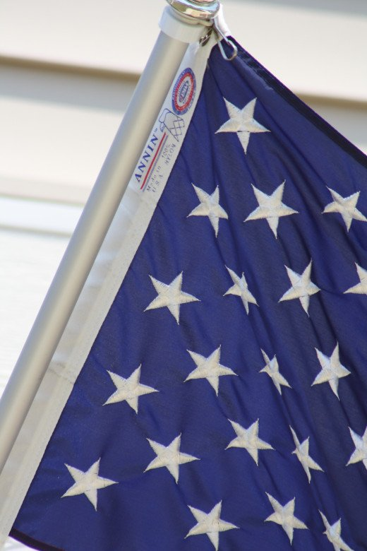 Zoomed in on the flag at 300mm you can see the stitching of the stars