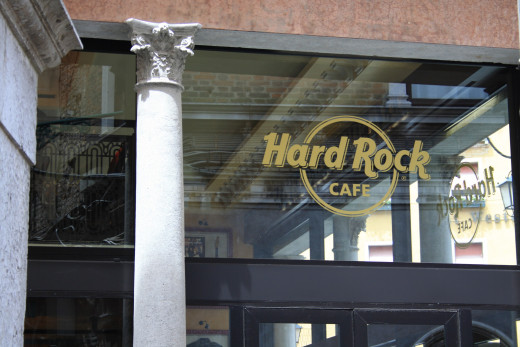 The Hard Rock Cafe sign.