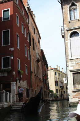 On the Gondola ride in the middle of Venice on an unknown canal (I couldn't keep track)
