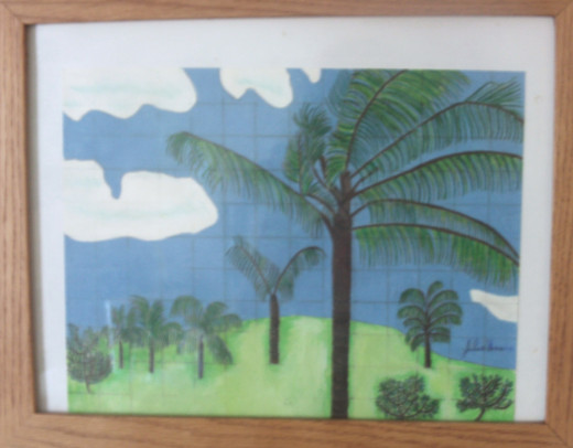 A drew a picture of a Hawaiian palm tree scene using the graph method.  I used colored pencils to try to cover up the graph, but some of it showed through and gives the illustration an interesting effect.