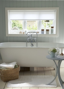 Retro Bathroom with Wood Flooring and Tongue-and-Groove Walls
