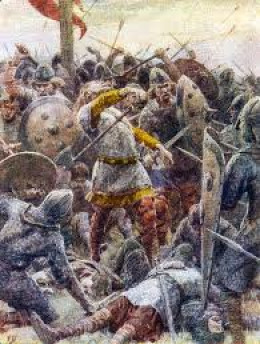 Harold was ringed to the last man by his huscarlar late in the day on Caldbec Hill. He was part-blinded by an arrow but this did not kill him. Eustace of Boulogne and two other knights dealt him his death blows after tormenting him