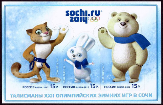 Stamps of Russia 2012 No 1559-61 with the Mascots 2014 Winter Olympics