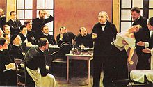 Professor Jean-Martin Charcot teaching at the Paris Salpetriere, demonstrates hypnosis on a 'hysterical' woman ('Blanche' Wittman). She is in a trance or in shock.