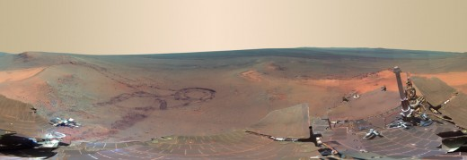 Click link below for amazing large-sized view of this panorama of Mars taken by Opportunity in January 2012, where the rover is parked for the winter. It's been color-enhanced to bring out details.