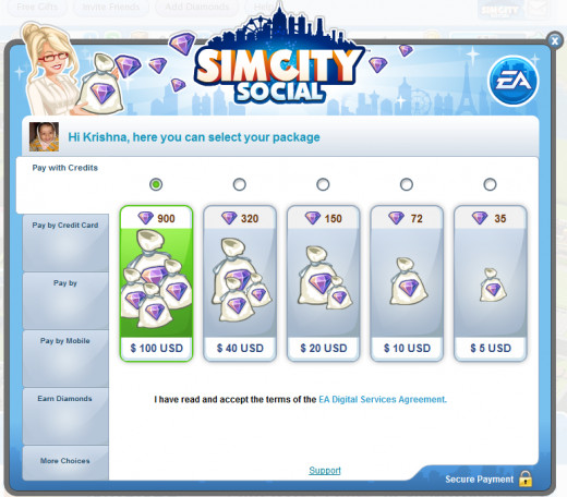You can purchase Virtual Diamonds for Real Money