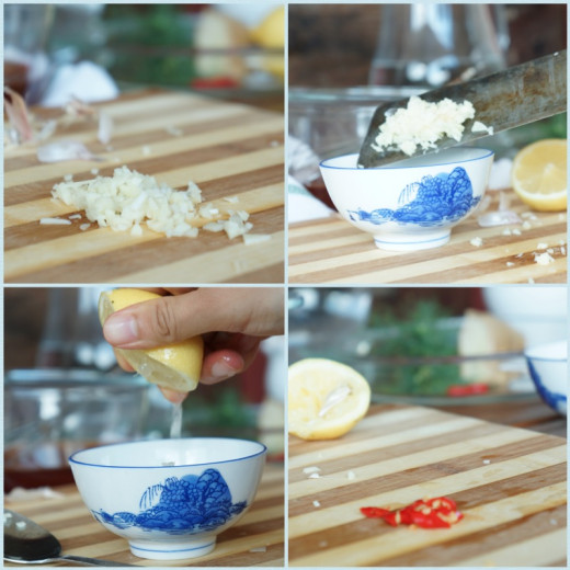 Finely chop garlic then mix with lime/lemon juice; Scrape chilli seeds if you can't eat spicy, cut or finely chop.
