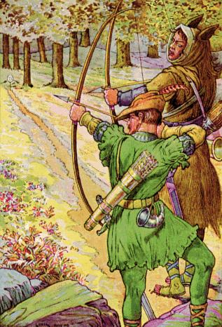 The classic image of Robin Hood, dressed in Lincoln green and drawing his long bow to shoot at a deer.