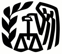 The IRS logo - a bald eagle, olive branch and the scales of justice.