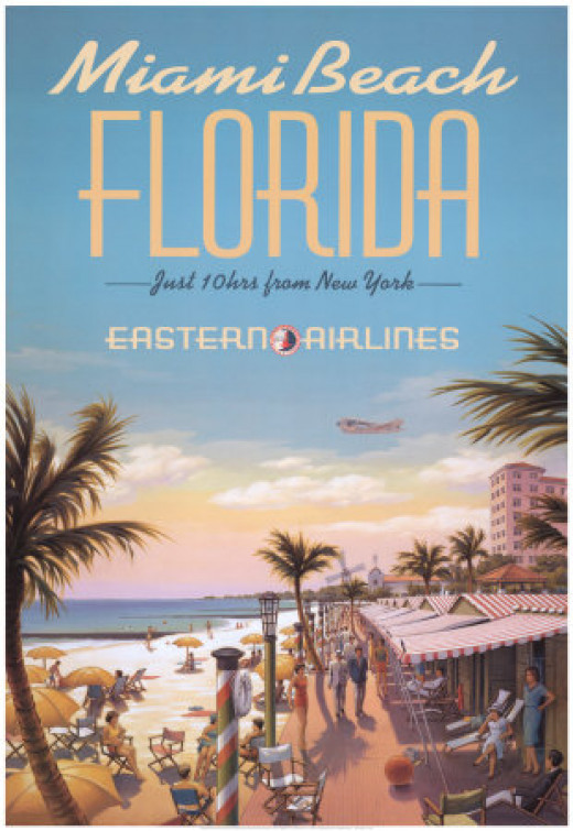 An old travel poster for travel to Miami Beach on the now defunct Eastern Airlines.