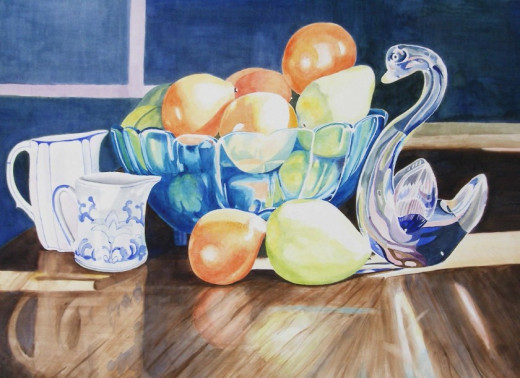 Still Life with Oranges, Watercolor, 20x28""
