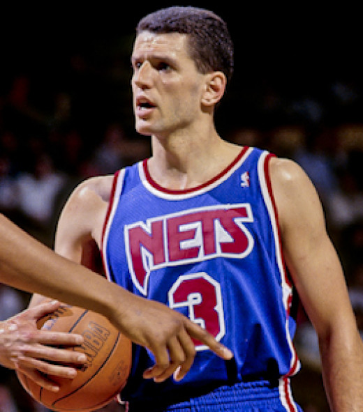 Dražen Petrović, one of Croatia's first recruits to the NBA.  Here he is seen wearing his jersey for the New Jersey Nets.