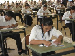 Cambodian students taking an exam.