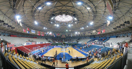 Inside the Dražen Petrović basketball arena, located in Zagreb, Croatia.  Its seating capacity is 5,400 people.  It is also used for cultural events and concerts.