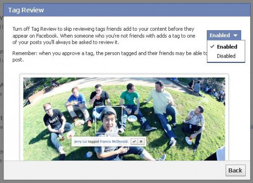 """Enable """"Review tags friends add to your own posts on Facebook."""""""