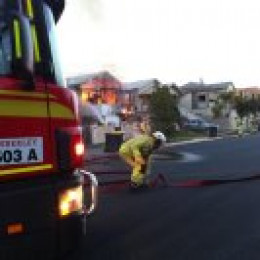Fire brigade truck on the scene of the fire.  These photos were taken from Maria. Thanks Maria for sharing your photos.