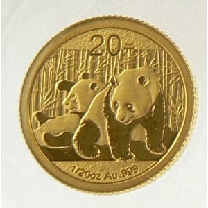 2010 GOLD PANDA 1/20 OZ COIN UNCIRCULATED. The chemical symbol for gold is Au.