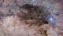 Coal Sack dark nebula, found in the Crux constellation. It looks like a great void of nothing, but really it is a dark cloud blocking the light of the Milky Way, beyond.