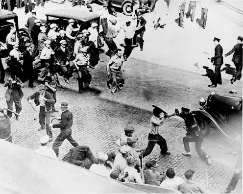 Striking teamsters and the police. Minnesota, June 1934.